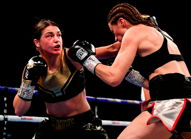 UNBEATEN: Katie Taylor (left) in action against Kimberly Connor during her successful title defence last month. Photo: Stephen McCarthy/Sportsfile