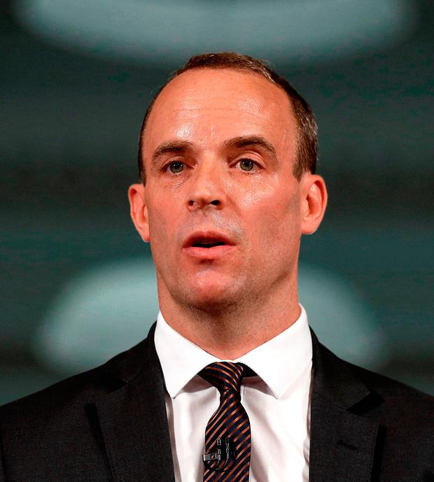Britain's Brexit Secretary Dominic Raab. Photo: Peter Nicholls/PA Wire