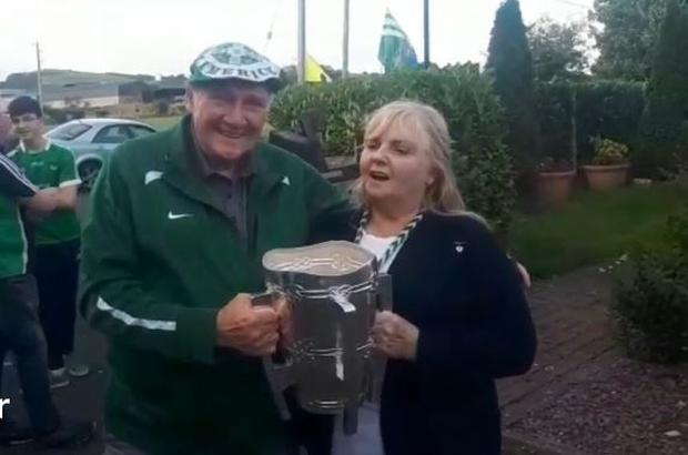 Dolores O'Riordan's mother Eileen with the Liam McCarthy Cup. Photo: Limerick Leader