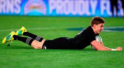 New Zealand's Beauden Barrett dives in for a try during the second rugby Test match between New Zealand and Australia at Eden Park in Auckland on August 25, 2018. (Photo by MICHAEL BRADLEY / AFP)MICHAEL BRADLEY/AFP/Getty Images