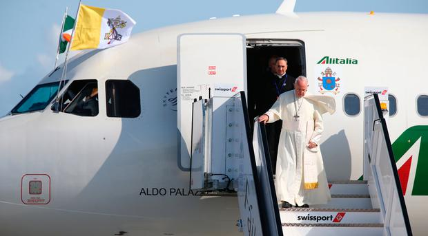 Pope Francis as he arrives at Dublin Airport, at the start of his visit to Ireland. Photo: Dave Conachy