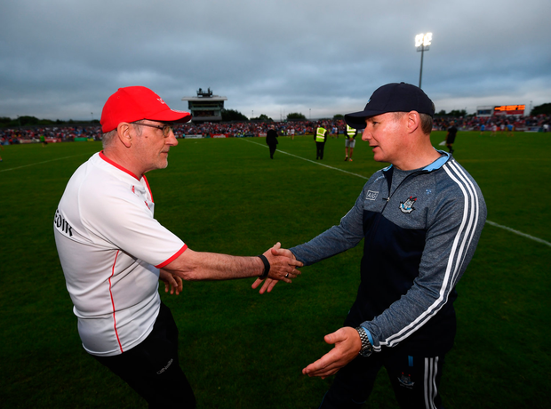 21 July 2018; Dublin manager Jim Gavin and Tyrone manager Mickey Harte, left, following the GAA Football All-Ireland Senior Championship Quarter-Final Group 2 Phase 2 match between Tyrone and Dublin at Healy Park in Omagh, Tyrone. Photo by Stephen McCarthy/Sportsfile