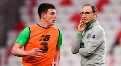 Manager Martin O'Neill and Declan Rice