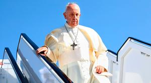 Pope Francis as he arrives at Dublin Airport. Photo: MAXWELLS