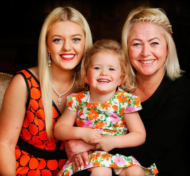 Carlow Rose Shauna Ray Lacey with her daughter Emmy and mother Angela Ray. Photo: Steve Humphreys