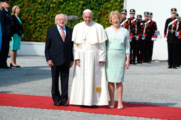 The Pontiff with President Michael D Higgins and his wife Sabina. Photo: Justin Farrelly