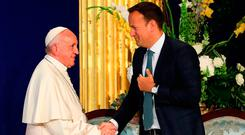 Pope Francis shakes hands with Taoiseach Leo Varadkar at Dublin Castle. Photo: WMOF2018/Maxwell Photography via Getty Images