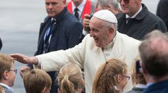 Pope Francis greets Knock School Children at Ireland West Airport, Knock today. PIC COLIN O'RIORDAN