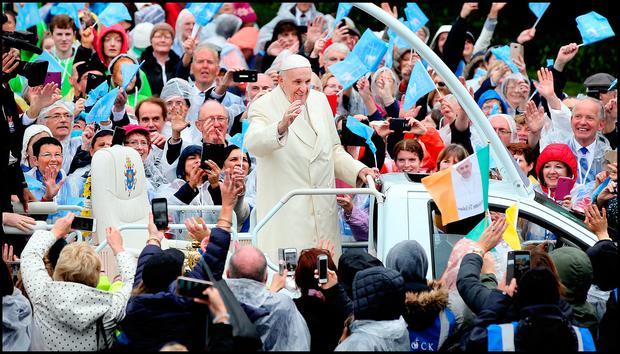 Pope Francis greets pilgrims as he arrives at Knock Shrine. Pic Steve Humphreys 26th August 2018