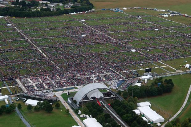 An aerial view of the crowd at Phoenix Park in Dublin as Pope Francis attends the closing Mass at the World Meeting of Families, as part of his visit to Ireland: Liam McBurney/PA Wire