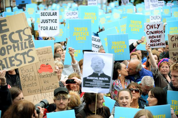26 Aug 2018; General view of Stand4Truth protesters on Parnell Square East, Dublin. Picture: Caroline Quinn