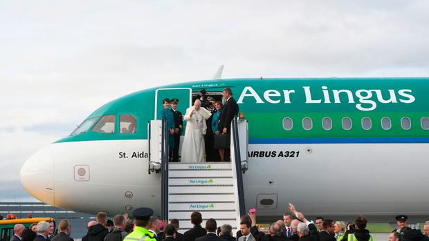 Pope Francis leaving on an Aer Lingus aircraft from Dublin Airport back to the Vatican putting an end to his visit to Ireland: Joe Giddens/PA Wire