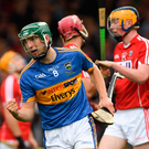 Stephen Nolan of Tipperary celebrates scoring his side's second goal during the Bord Gais Energy GAA Hurling All-Ireland U21 Championship Final match between Cork and Tipperary at the Gaelic Grounds in Limerick.