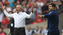 Jose Mourinho and Mauricio Pochettino issue instructions during Manchester United's FA Cup semi-final win over Tottenham in April. Photo: Getty Images