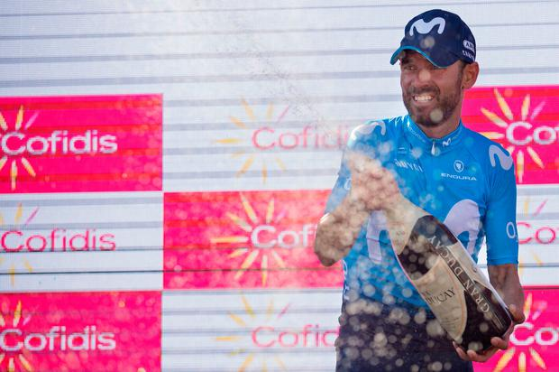 Movistar's Alejandro Valverde celebrates his stage win at Ardales in the Vuelta A Espana yesterday. Photo: Getty Images