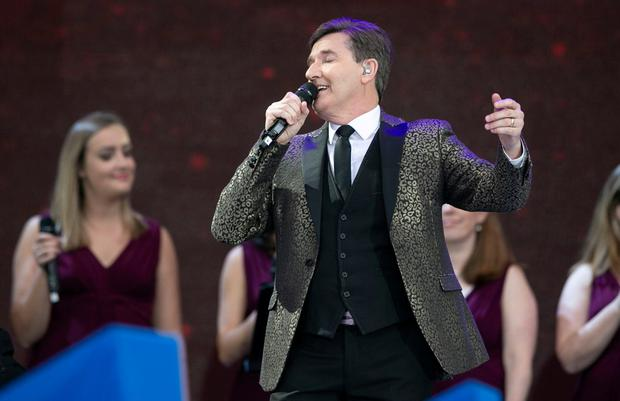 Daniel O'Donnell singing for the Pope in Croke Park. Photo: Kyran O'Brien