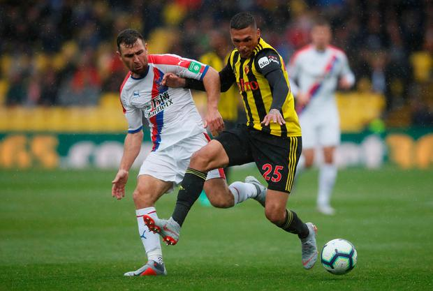 Watford's Jose Holebas in action with Crystal Palace's James McArthur. Photo: Reuters/David Klein