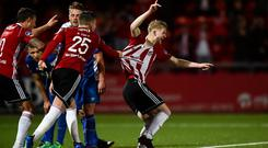 Derry were the hosts for the marquee tie of the second round and advanced past St Patrick's Athletic last Friday in dramatic fashion. Photo: Oliver McVeigh/Sportsfile