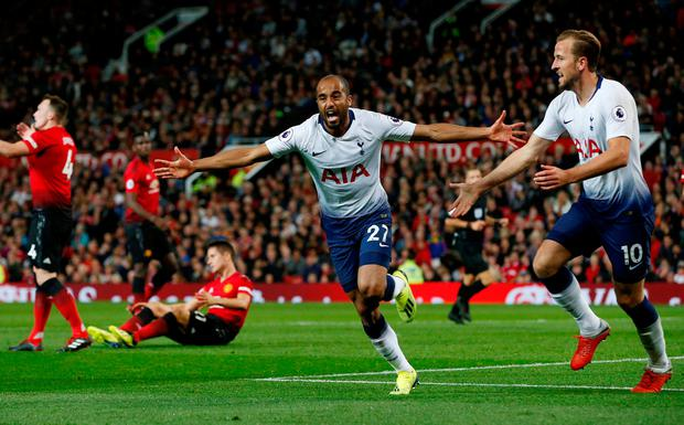 Lucas Moura celebrates after scoring Tottenham's second goal. Photo: REUTERS