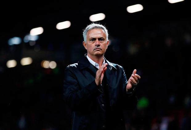 Manchester United manager Jose Mourinho applauds fans after the match. Photo: REUTERS
