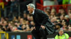 Some observers believe that Jose Mourinho was playing to the Old Trafford gallery during Monday's defeat by Spurs. Photo: Oli Scarff/AFP