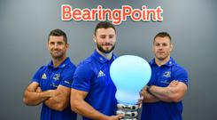 At the announcement of Leinster Rugby's new partnership with BearingPoint are Leinster Rugby players, from left, Rob Kearney, Robbie Henshaw and Seán OBrien