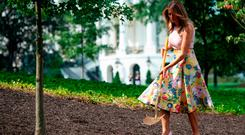 US First Lady Melania Trump participates in a tree planting ceremony of a sapling from the original Eisenhower Oak tree that was removed from the grounds last year, on the South Lawn of the White House in Washington, DC on August 27, 2018, (Photo by SAUL LOEB / AFP)SAUL LOEB/AFP/Getty Images