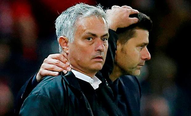 Tottenham manager Mauricio Pochettino with Jose Mourinho