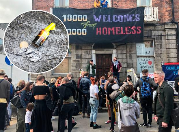 Protesters outside the building on Frederick Street and inset, a firework and pellets thrown