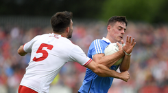 21 July 2018; Brian Howard of Dublin in action against Tiernan McCann of Tyrone during the GAA Football All-Ireland Senior Championship Quarter-Final Group 2 Phase 2 match between Tyrone and Dublin at Healy Park in Omagh, Tyrone. Photo by Ray McManus/Sportsfile