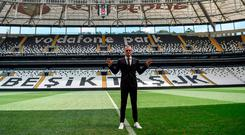 Loris Karius poses on the football pitch of the Vodafone Park Stadium yesterday in Istanbul. Photo: AFP/Getty Images