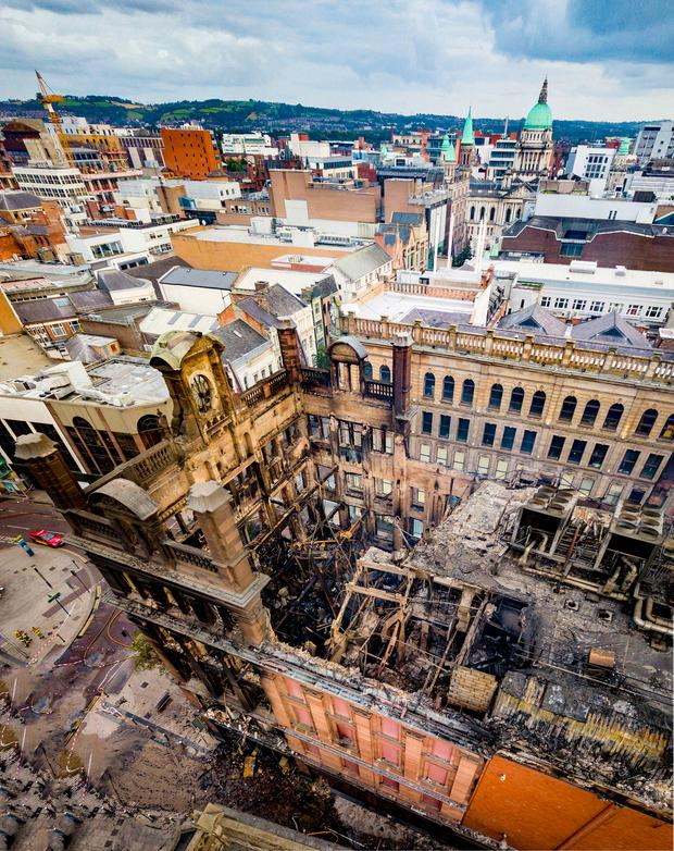 Most of the interior of the landmark Bank Buildings, which housed the Primark shop, in Belfast has collapsed after the blaze on Tuesday. Photo: Kevin Scott