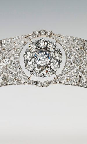 One Use Only. Can only be used in connection with the exhibition A Royal Wedding: The Duke and Duchess of Sussex. Handout image issued by the Royal Collection Trust of the diamond and platinum bandeau tiara, lent to the Duchess of Sussex by Queen Elizabeth II for her wedding, that will go on display as part of the exhibition A Royal Wedding: The Duke and Duchess of Sussex, at Windsor Castle from October 26. PRESS ASSOCIATION Photo. Issue date: Wednesday August 29, 2018. See PA story ROYAL Outfit. Photo credit should read: Royal Collection Trust/PA Wire NOTE TO EDITORS: This handout photo may only be used in for editorial reporting purposes for the contemporaneous illustration of events, things or the people in the image or facts mentioned in the caption. Reuse of the picture may require further permission from the copyright holder.