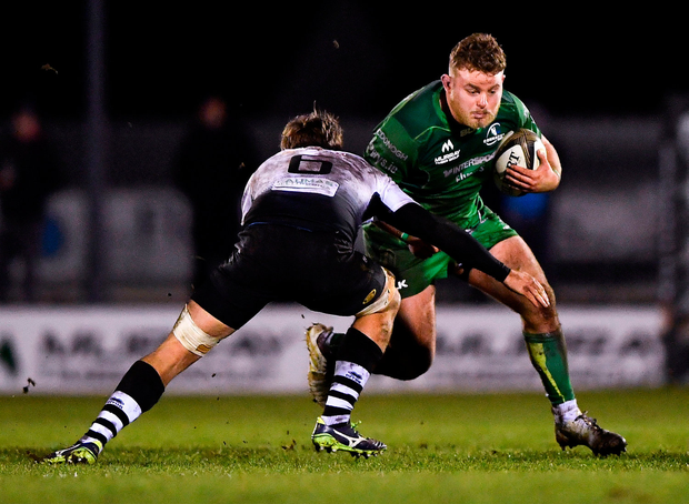 Bealham being tackled by Zebre'sJohan Meyer. Photo by Harry Murphy/Sportsfile