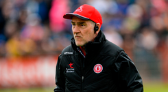 20 May 2018; Tyrone manager Mickey Harte during the Ulster GAA Football Senior Championship Quarter-Final match between Tyrone and Monaghan at Healy Park in Tyrone. Photo by Oliver McVeigh/Sportsfile