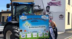Emma Birchall, Queen of the Land 2017 at the Newbridge of Nowhere sign at St. Conleth's Park, Newbridge.