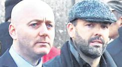 Cartel: 'Fat' Freddie Thompson beside Daniel Kinahan at the funeral of David Byrne, who was killed at the Regency Hotel in 2016