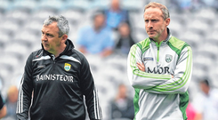 Kerry minor manager Peter Keane (left) and selector Tommy Griffin go in search of more All-Ireland MFC honours at Croke Park tomorrow. Photo by Brendan Moran/Sportsfile