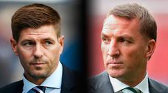 There will be as much focus on the dugouts as on the pitch at Parkhead tomorrow when Steven Gerrard and Brendan Rodgers lock horns as managers for the first time. Photo: Getty Images