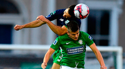 Roberto Lopes of Shamrock Rovers in action against Jake Kelly of Bray Wanderers during the SSE Airtricity League Premier Division match between Bray Wanderers and Shamrock Rovers at the Carlisle Grounds in Bray, Wicklow.