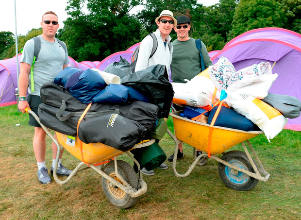 Justin Clarke, his brother Christopher and cousin Wes Clarke, from Clondalkin, arriving on first day of Electric Picnic.