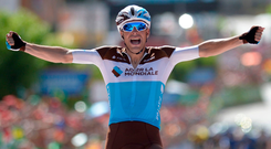 Ag2r's Tony Gallopin celebrates winning stage seven of the Vuelta. Photo: Getty Images