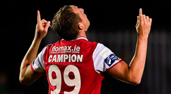 St Patrick's Athletic's Achille Campion celebrates after scoring his side's first goal. Photo: Sportsfile