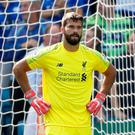 Soccer Football - Premier League - Leicester City v Liverpool - King Power Stadium, Leicester, Britain - September 1, 2018 Liverpool's Alisson looks dejected after Leicester City's first goal Action Images via Reuters/Carl Recine