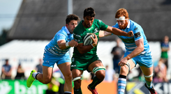 1 September 2018; Jarrad Butler of Connacht is tackled by DTH van der Merwe, left, and Rob Harleys of Glasgow Warriors during the Guinness PRO14 Round 1 match between Connacht and Glasgow Warriors at the Sportsground in Galway. Photo by Seb Daly/Sportsfile