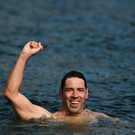 Paul O'Flynn of Half Moon celebrates winning the 99th Dublin City Liffey Swim in Dublin. Photo by Harry Murphy/Sportsfile