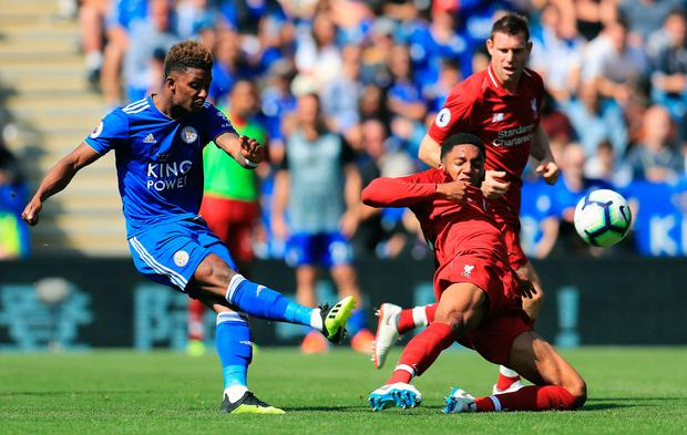 Leicester City's Demarai Gray shoots at goal. Photo: PA