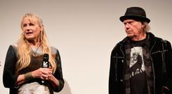YACHT WEDDING: Daryl Hannah and Neil Young. Picture: Getty