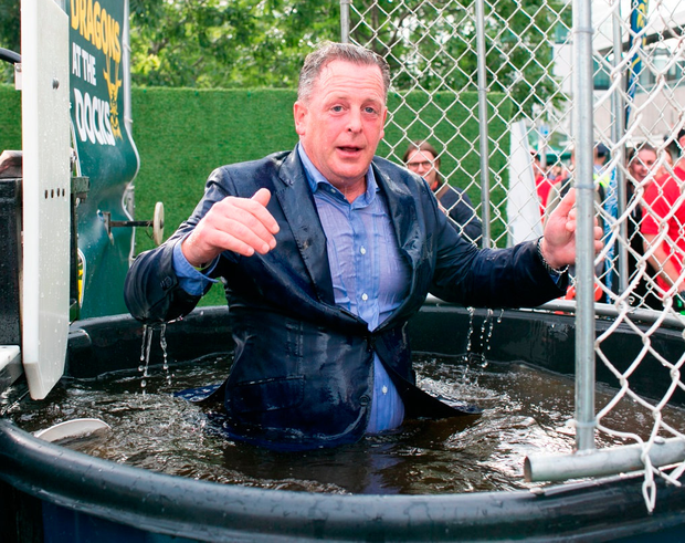 Michael Stanley gets dunked at the Docks property industry fundraiser