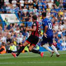 Chelsea's Eden Hazard scores their second goal. Photo: Reuters